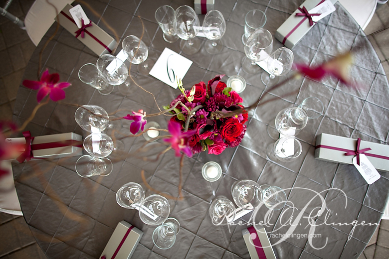 Reception centrepieces with orchids and branches