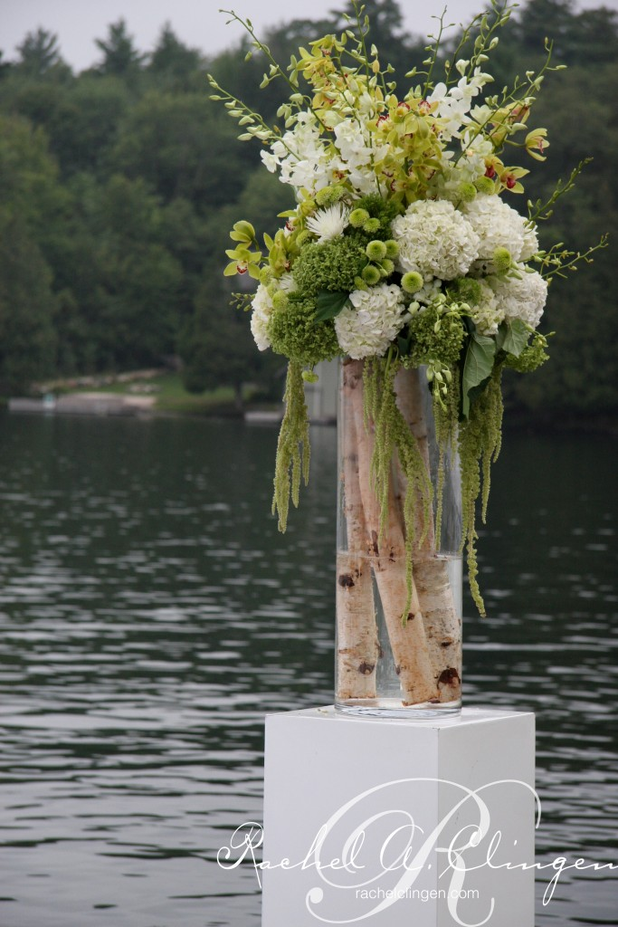 floral in glassware with rustic Muskoka birch accents