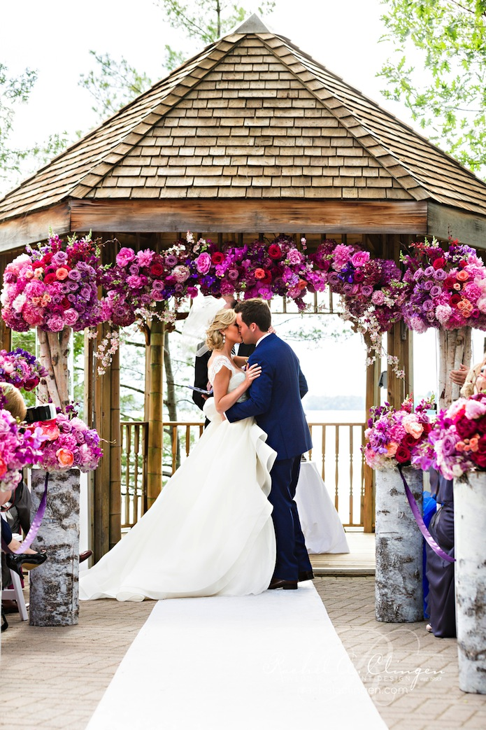A colourful muskoka wedding at taboo resort wedding for Outdoor wedding gazebo decorating ideas