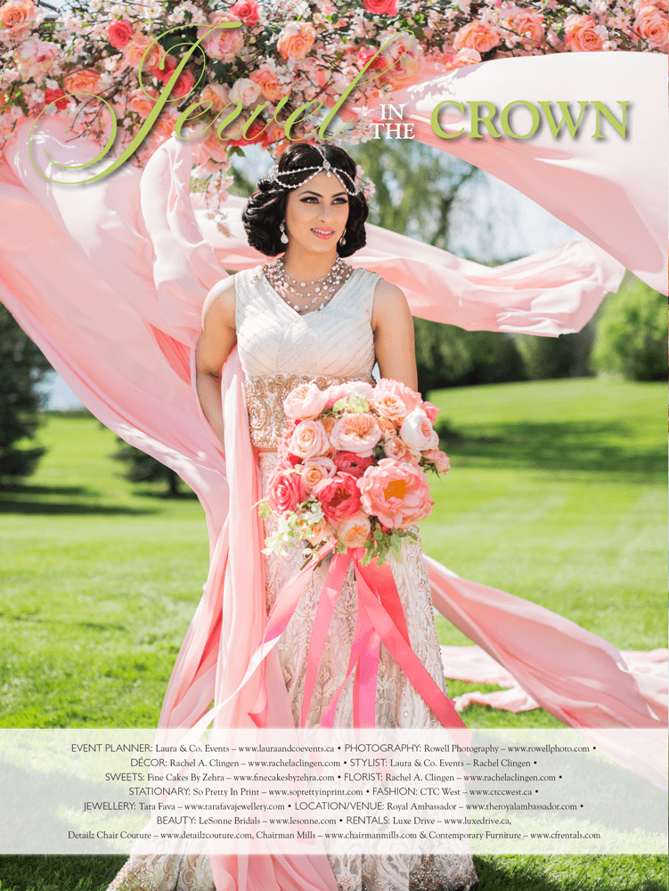 A luxurious indian wedding at Toronto's Royal Ambassador Centre featured in Lavish Dulhan Magazine.