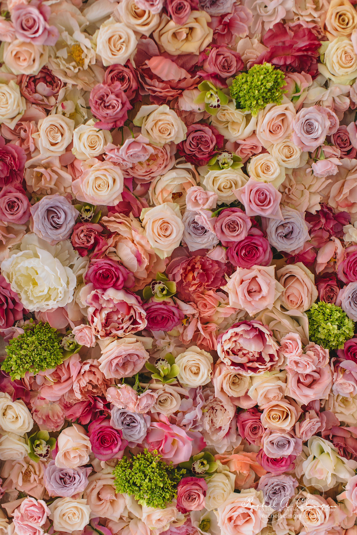 A summer wedding at royal conservatory of music wedding for Flower wall garden