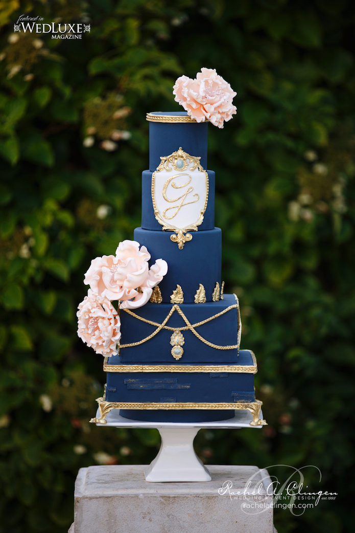 Navy Coral Wedding Cakes