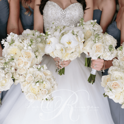 Bridal Party Bouquet Bright White Roses Orchids Toronto Weddings