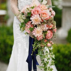 Cascading bridal bouquet ivy roses dahlias by Rachel A. Clingen wedding design decor flowers Toronto