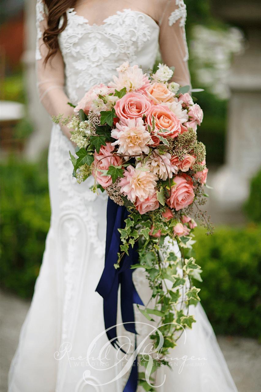 Cascading Bridal Bouquet Ivy Roses Dahlias By Rachel A