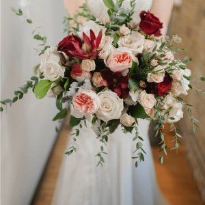 Cascading wedding bouquet roses Toronto wedding florist