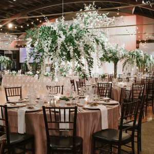 Luxurious hanging floral centerpiece at a Palais Royale wedding in Toronto
