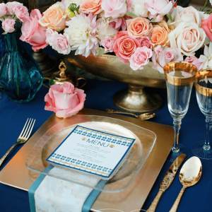Lavish deep blue and bronze wedding centerpieces by Rachel A. Clingen design & decor Toronto