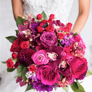 Red fuchsia bridal bouquet Toronto wedding flowers.