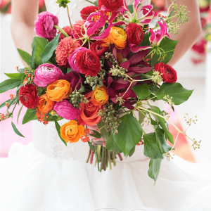 Rich colours and greenery bouquet by Rachel A. Clingen Toronto Wedding Flowers