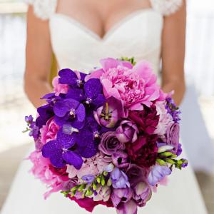 Rich purple bouquet wedding flowers Toronto