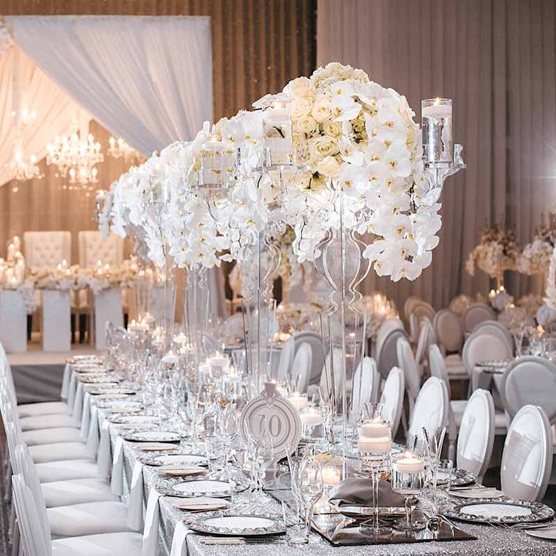 Ornate decorative wedding centrepieces.
