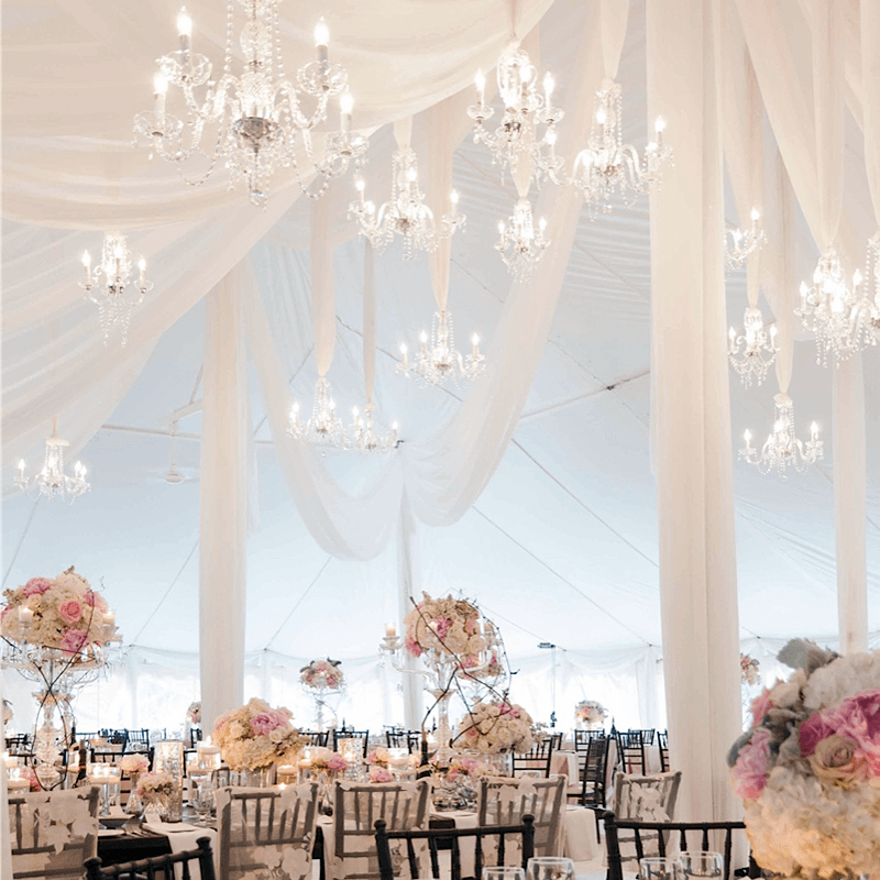 Complete wedding tent transformation with draping, decor and design Toronto.