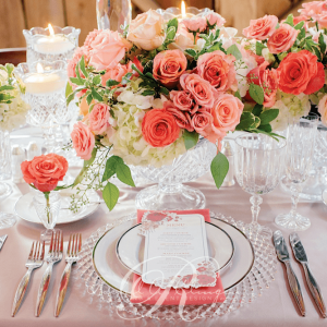Coral wedding flower place setting details