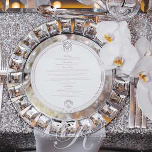 Crystal charger plate wedding details Toronto