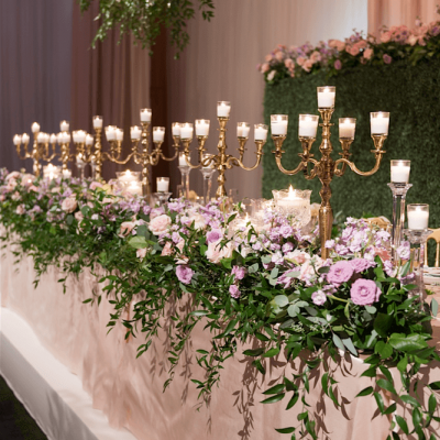 Head Table Flowers Candelabras
