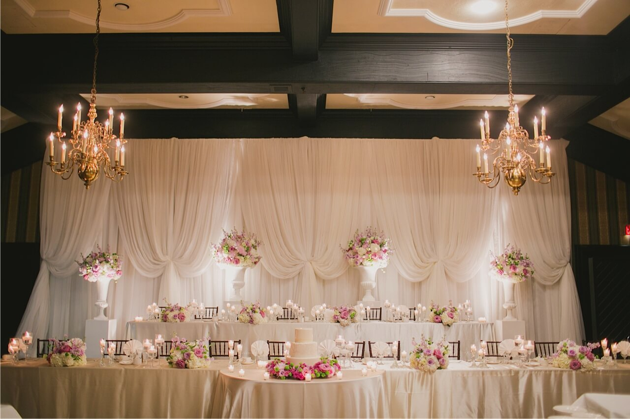 Chuppahs canopies backdrops wedding decor toronto for Wedding party table decorations