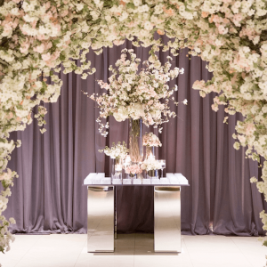 Luxurious wedding details with cherry blossom archway Toronto