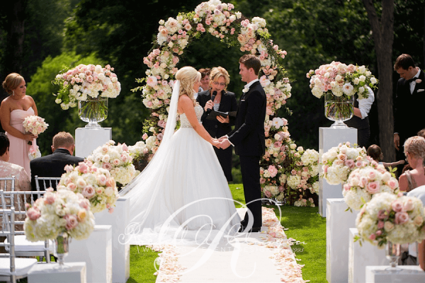 Outdoor Wedding Ceremony: An Outdoor Wedding Ceremony At London's Hunt Club