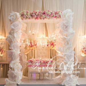 Paper flower canopy head table design for a Toronto Wedding