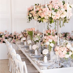 Pink floral wedding head table greenery Toronto