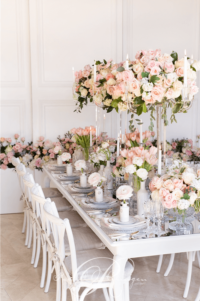 pink floral wedding head table greenery toronto wedding
