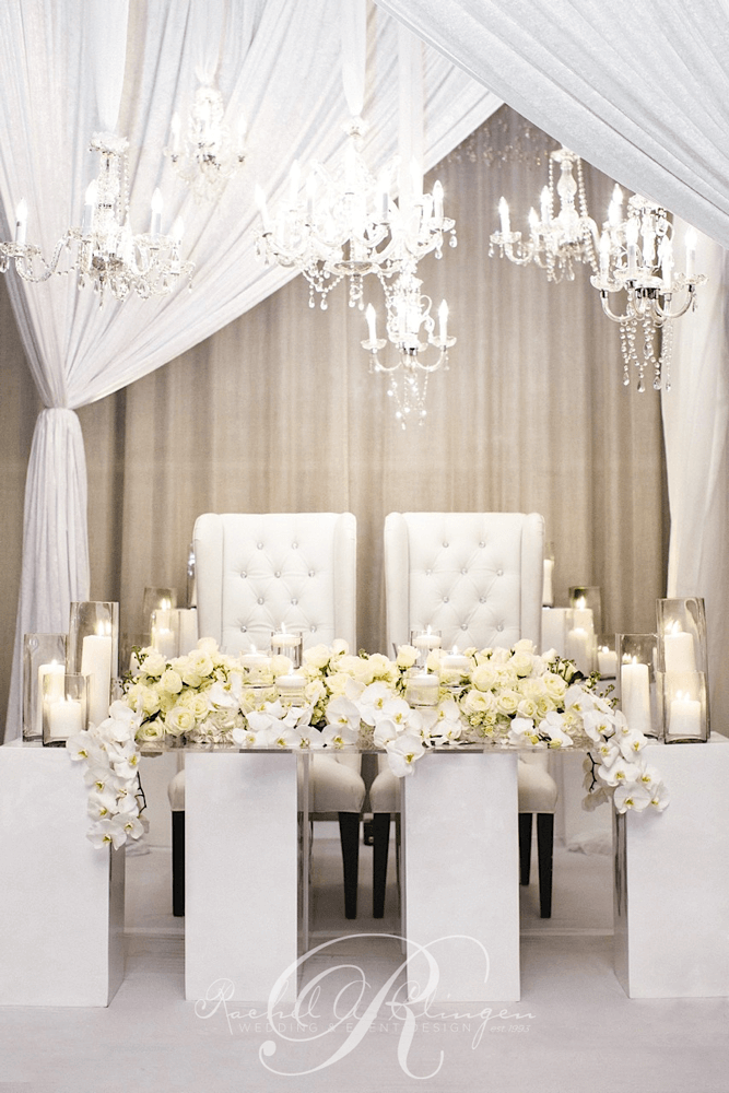 Pristine White Head Table Orchid Wedding Flowers