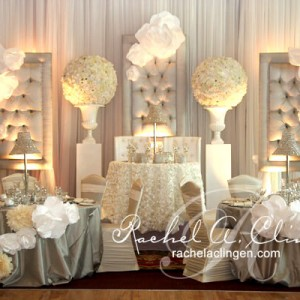 Ornate wedding backdrop and head table design by Rachel A. Clingen