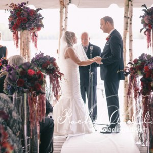 Dark colour floral wedding ceremony Toronto