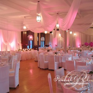 Elegant illuminated ceiling draping by Rachel A. Clingen Wedding Design and Decor