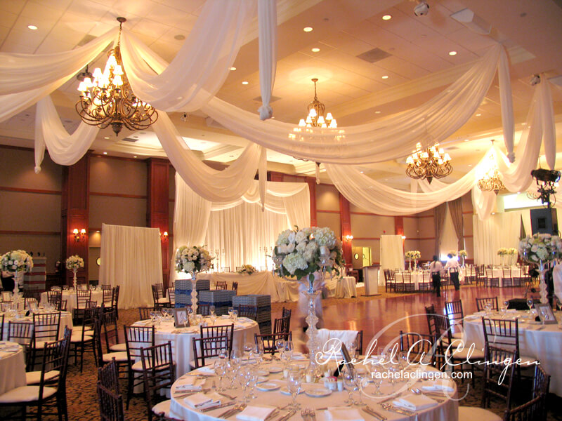 Elegant illuminated ceiling draping by Rachel A. Clingen Wedding Design & Decor