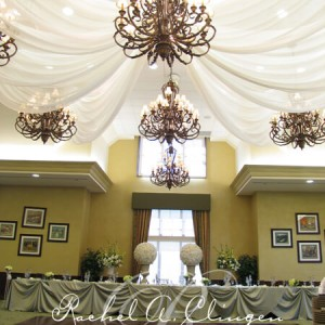 Spoked ceiling draping and chandeliers by Rachel A. Clingen Toronto Weddings