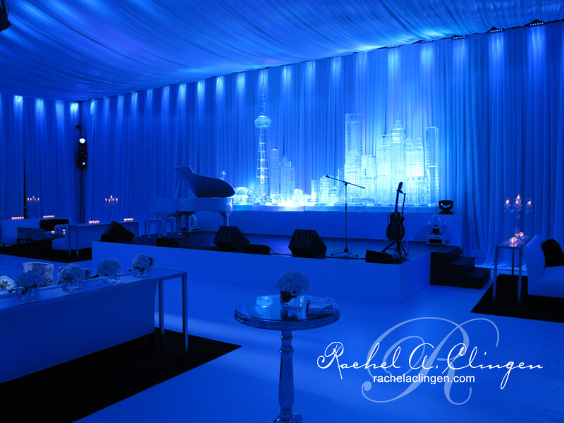 Room changing event draping and lighting for Toronto Weddings by Rachel A. Clingen Design and Decor