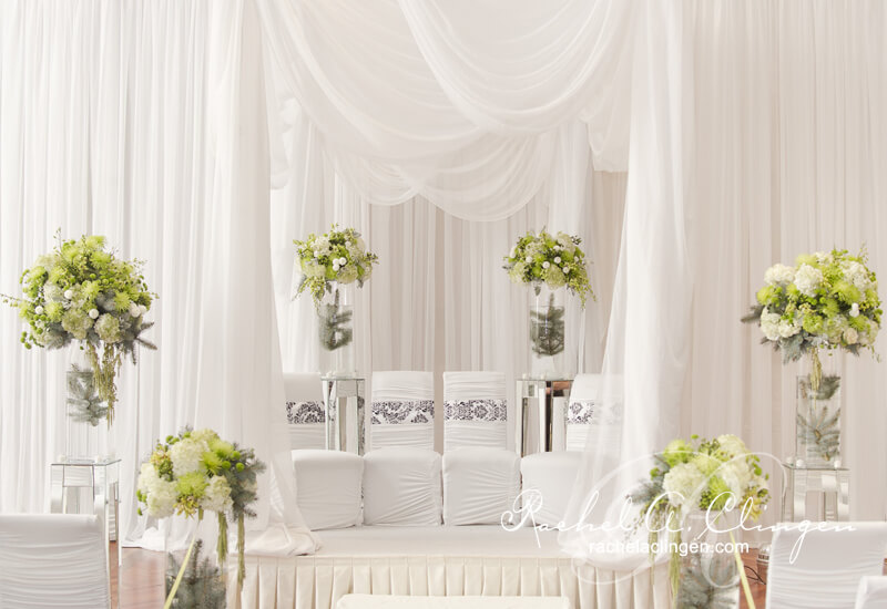 Luxurious and elaborate ceiling, canopy and wall draping by Rachel A. Clingen Wedding Design and Decor