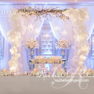 Mood lighting with LEDs for a canopied head table by Rachel A. Clingen Wedding Design Toronto