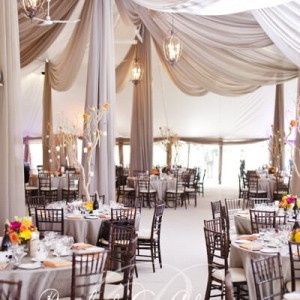 Swept ceiling wedding tent draping Toronto