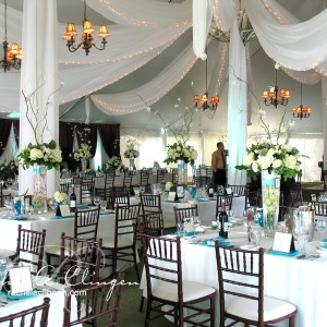 Cascading ceiling drapery Toronto wedding tents