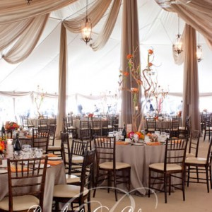 Cascading wedding tent ceiling draping and flowers Toronto