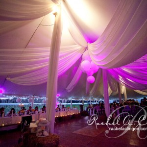 Illuminated wedding tent ceiling and draping Toronto Florist Rachel A. Clingen