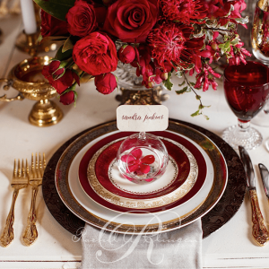 Red rose & gold wedding place setting Toronto