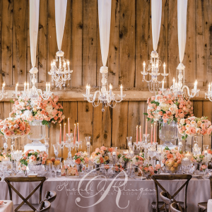 Rustic wedding head table chandelliers flowers Toronto