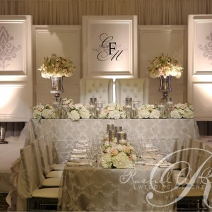 Monogrammed wedding backdrop by Rachel A. Clingen Wedding Design and Decor