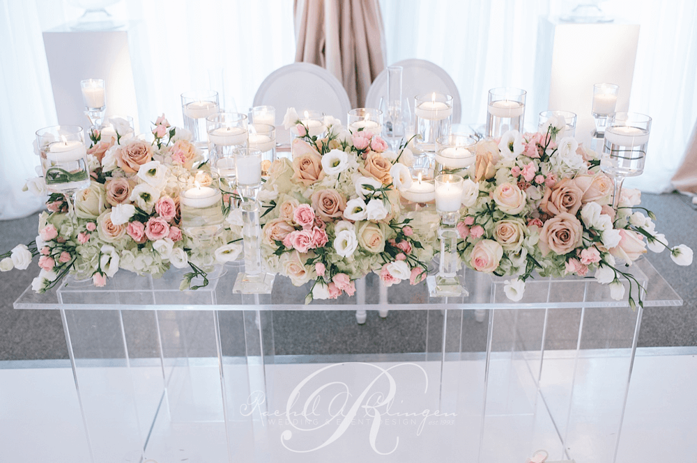 Head tables wedding decor toronto rachel a clingen for Floral table decorations for weddings