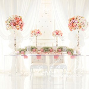Lucite table used for a wedding head table design at a Toronto Wedding by Rachel A. Clingen