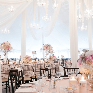 Wedding tent draping flowers Toronto