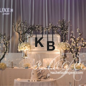 Liberty Grande Artifacts Room wedding head table with sculpted channel letter monogram, by Rachel A. Clingen