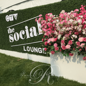 Corporate event flowers CTV social lounge