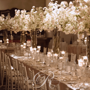 Crystal stemware wedding centrepieces with cherry blossom floral decor Toronto