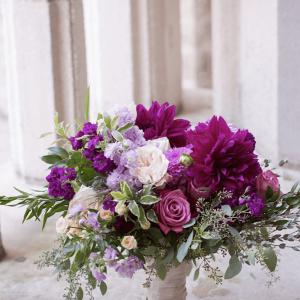 Deep purple bridal bouquet with lush greenery Toronto weddings