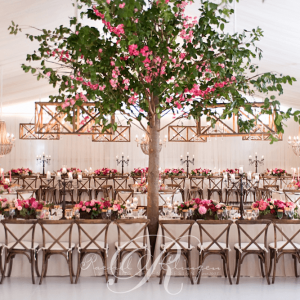 Gorgeous custom cherry blossom tree for Muskoka tent wedding decor